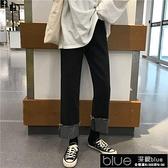 大碼胖mm高腰顯瘦捲邊直筒寬鬆學生2021春季新款韓版闊腿牛仔【全館免運】