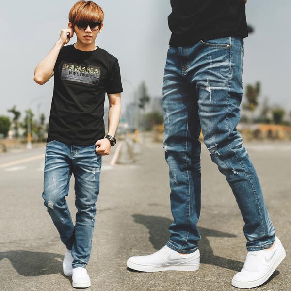 牛仔褲 韓國製立體抓皺中藍刷色小直筒牛仔褲【NB0750J】