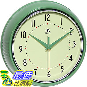 [106美國直購] Infinity Instruments Retro 9-1/2-Inch Round Metal Wall Clock, Green
