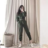 連體褲 連體褲秋冬新款韓版時尚翻領雙口袋拉鏈純色女送腰帶 coco衣巷