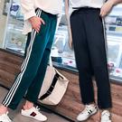 條紋拼接休閒運動褲/寬褲 3色 S-2XL碼【RK67186】