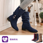 韓系雜誌風皺褶式皮帶方跟尖頭短靴/3色/35-43碼 (RX1147-A70) iRurus 路絲時尚