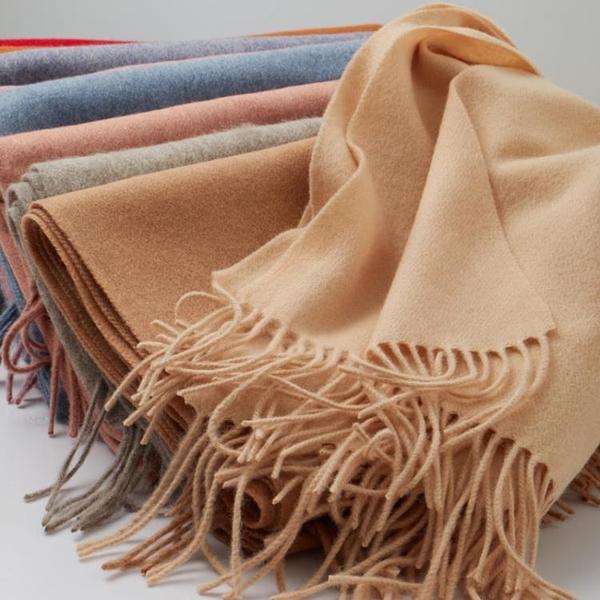 羊毛圍巾女冬季韓版純色百搭加厚保暖