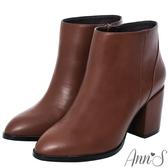 Ann'S主角級時髦-素面美型顯瘦粗跟短靴-咖