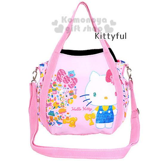 〔小禮堂〕Hello Kitty 2way帆布托特包《小.粉.站姿.繽紛小圖》手提包.側背包.外出包 4582135-12840