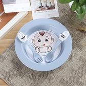 小麥秸稈 兒童碗環保餐具碗勺叉套裝可愛防燙防摔寶寶盤子 北歐藍  enjoy精品