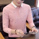 秋季新品正韓潮流男士長袖T恤春秋薄版襯衫領打底衫有帶領POLO衫