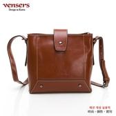 【南紡購物中心】【vensers】小牛皮潮流個性斜肩背包(NL1083902棕色)