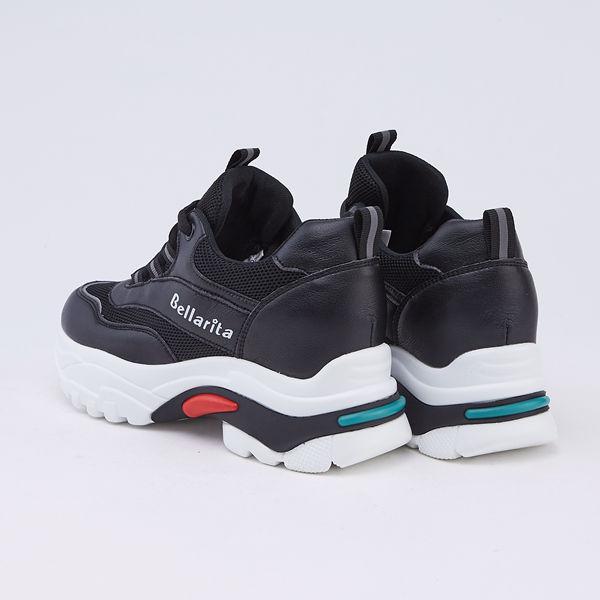 bellarita.網狀拼接厚底老爹鞋(9902-98黑色)