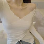 2020新款夏季上衣時尚性感長袖v領白色打底緊身薄款t恤修身女裝  店慶降價