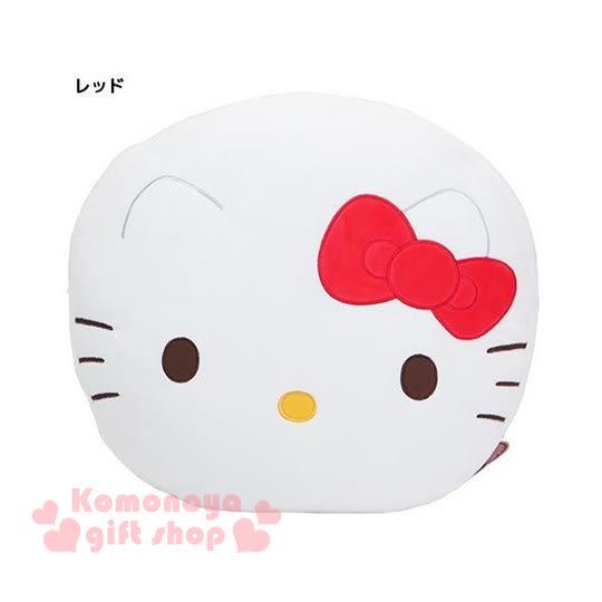 〔小禮堂〕Hello Kitty 圓形靠墊《白.大臉.紅蝴蝶結》可當抱枕4930972-41404