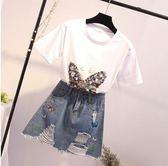 特賣款不退換洋氣大尺碼XL-5XL兩件套30764/新款大碼女洋氣珠片繡短袖 牛仔短裙兩件套1號公館