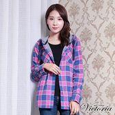 Victoria 雙面布格紋連帽長袖襯衫-女-桃藍格