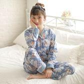 睡衣-長袖秋冬新品花卉印花棉質女居家服套裝73ol49【時尚巴黎】