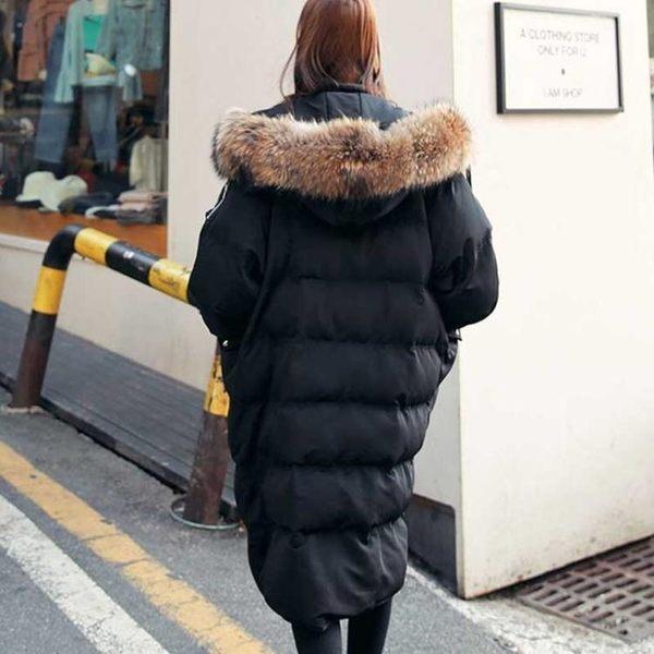 梨卡★現貨 - 正韓國空運超保暖高質感外套- 超長版禦寒加厚大毛領口袋仿羽絨鋪棉連帽大衣A165