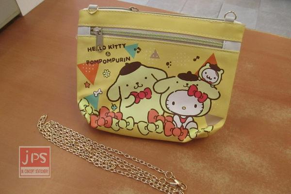 Hello Kitty 凱蒂貓 布丁狗 手機觸控斜背包 雙拉鍊 收納包 黃 KRT-669897