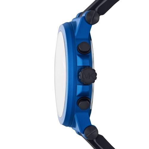MICHAEL KORS經典黑鋼三眼橡膠錶帶腕錶MK8761