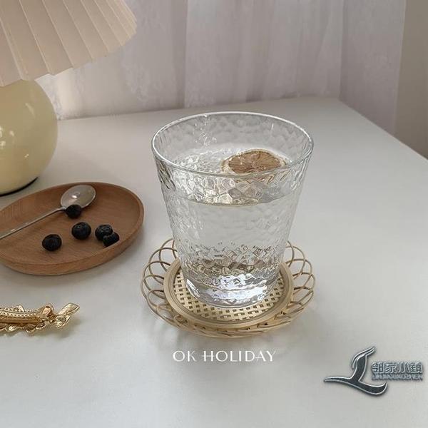 透明水杯早餐杯咖啡店果汁杯簡約日式錘目紋玻璃水杯【邻家小鎮】