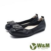 W&M 方頭蝴蝶結圓釦娃娃鞋 平底鞋 女鞋 -黑(另有深卡其)