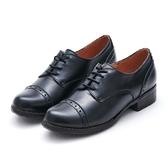MICHELLE PARK 經典英倫學院風 質感素面真皮牛津鞋-黑色