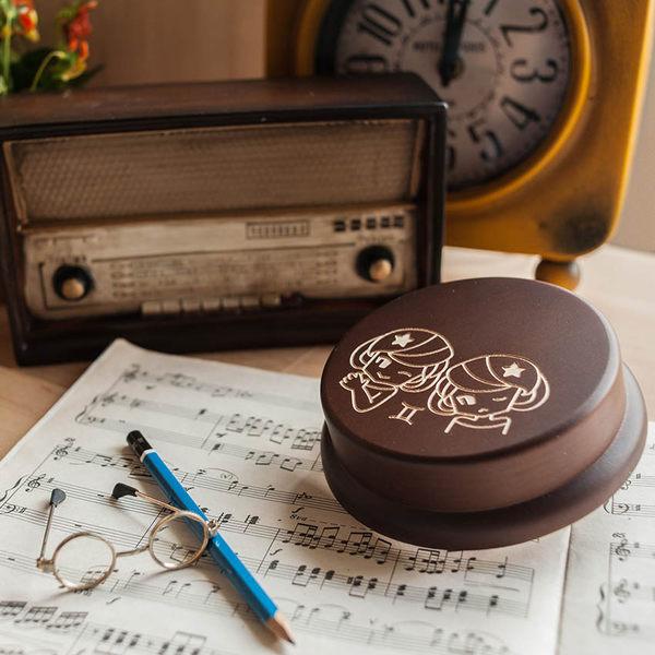 幸福森林.木製 發條式 選轉音樂盒 客製化禮物-星座-雙子少女