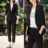 中大尺碼 黑色夏季薄款小西裝女外套夏天韓版休閑短款七分袖 WD635【衣好月圓】