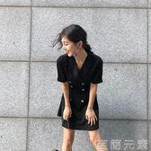 小黑裙冷淡風連身裙裙復古少女黑顯瘦女夏  igo  至簡元素