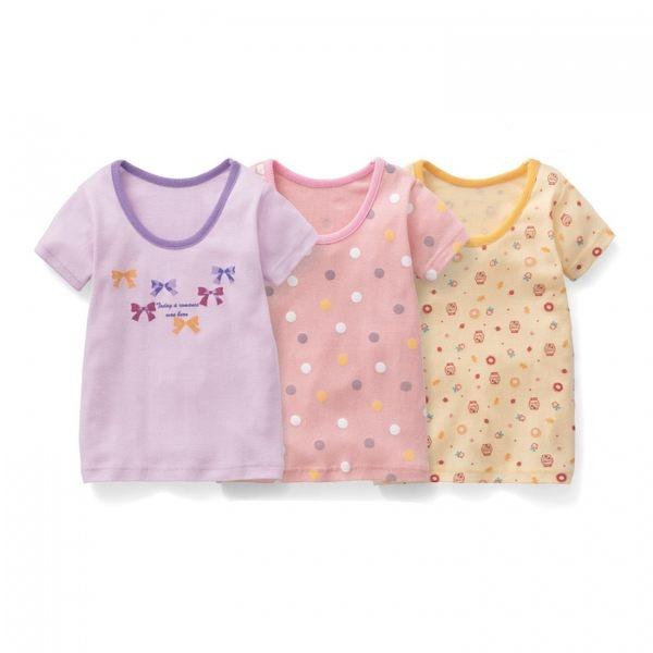 Japan Imports  女童短袖上衣三件組 蝴蝶結