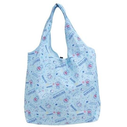 小禮堂 哆啦A夢 折疊尼龍環保購物袋 折疊環保袋 側背袋 手提袋 (藍 大笑) 4513266-15381