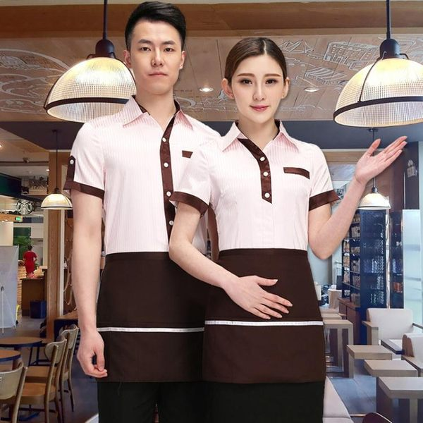 服務員工作服 - 服務員工作服短袖襯衣女套裝餐飲酒店餐廳店員工服【快速出貨八折搶購】