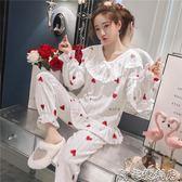 睡衣女冬珊瑚絨秋冬可愛套裝法蘭絨可外穿韓版清新學生加厚加絨秋  阿宅便利店