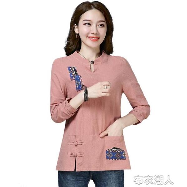 長袖 棉麻民族風長袖T恤秋季新款女裝寬松百搭衣服打底衫女款上衣 布衣潮人