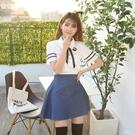 韓版水手服雪紡衫牛仔裙兩道杠娃娃領班服校服套裝JK制女夏季 PA16337『美好时光』