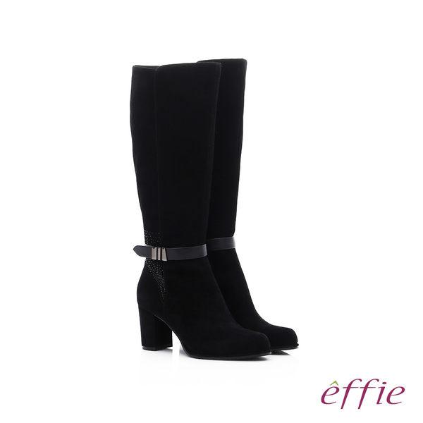 effie 保暖靴 絨面羊皮奢華水鑽粗高跟長靴  黑