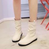 短靴平底 鞋碼[33-45] 小碼女鞋單靴子春秋中筒靴短筒平底學生白色大碼 - 古梵希