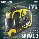 [中壢安信]法國 SHARK SKWAL 2 彩繪 TRION 消光黑黃 新版 LED 全罩 安全帽 定位燈 夜間燈