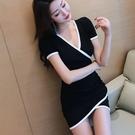 洋裝 小禮服 新款韓版時尚氣質修身顯瘦V領拼色邊不規則連身裙打底包臀裙 韓風
