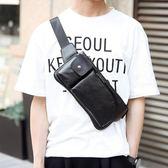 新韓版男士胸包 皮質休閒潮流胸包 男士腰包胸前包時尚小背包