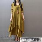 茶服 【七色七碼】210斤大碼連衣裙名族風禪意女裝茶服長袖假兩件長裙