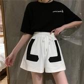 運動短褲 夏季韓版2020新款設計感貼布系帶高腰顯瘦運動闊腿休閒短褲女褲子 新品
