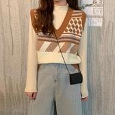 V領針織馬甲女韓版寬鬆潮復古撞色時尚背心馬夾外套 樂淘淘