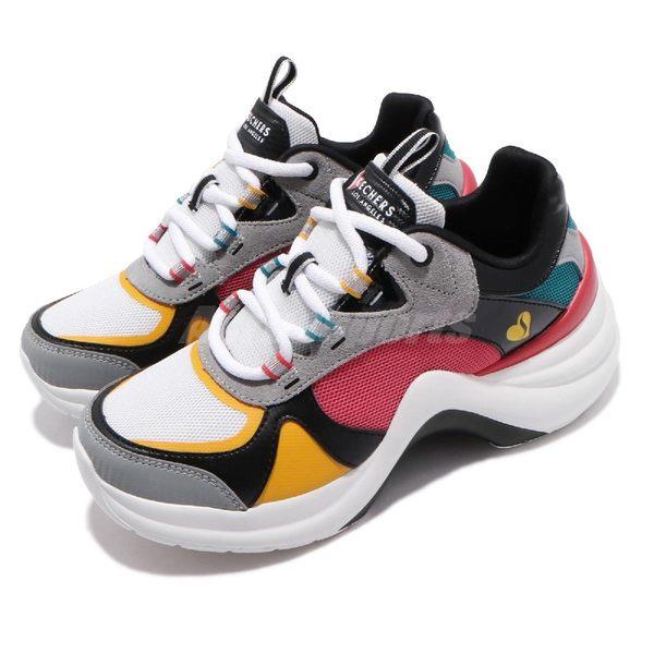 Skechers 休閒鞋 Solei ST-Groovy Sole 灰 紅 黃 白底 增高鞋 女鞋 【PUMP306】 74190WMLT