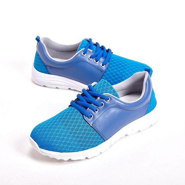 WALKING ZONE 超輕量彈性運動綁帶女鞋-藍(另有灰、橘)