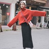 韓版秋季休閒針織半身裙兩件套S-L新款网红高领毛衣加裙子两件套装女针织毛线裙T126-930