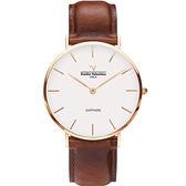 【VALENTINO 范倫鐵諾】經典皮革手錶-36mm 71418B-釘白面玫瑰金咖啡帶