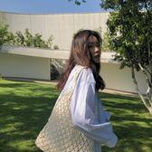 超火漁網包女正韓棉線手工編織網兜包鏤空單肩手提包 限時八五折
