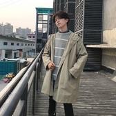 ins男士薄款風衣休閒男學生春秋季韓版中長款外套bf英倫風寬鬆潮