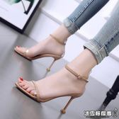 韓版高跟細跟性感露趾一字扣百搭透明貓跟鞋
