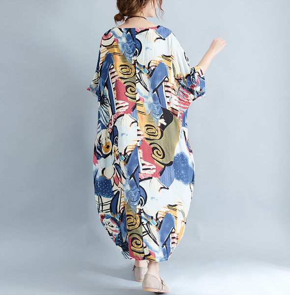 五分袖洋裝 民族風印花圖騰寬鬆連身裙 艾爾莎【TGK5574】