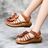 真皮涼鞋 手工鞋 鏤空 花朵裝飾 厚底鞋 坡跟涼鞋/2色-標準碼-夢想家-0515